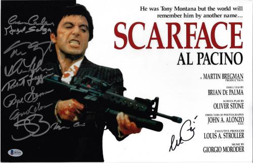 Scarface Cast Autographed 11x17 Movie Poster Photo Al Pacino - Beckett BAS 2