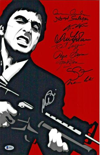 Scarface Cast Autographed 11x17 Movie Poster Photo Al Pacino - Beckett BAS 6
