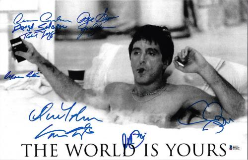 Scarface Cast Autographed 11x17 Movie Poster Photo Al Pacino - Beckett BAS 4