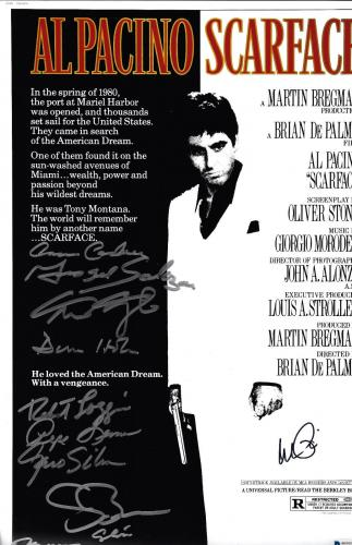 Scarface Cast Autographed 12x18 Movie Poster Photo Al Pacino - Beckett BAS