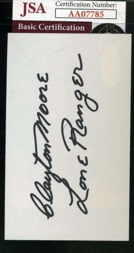 CLAYTON MOORE   Lone Ranger Signed JSA Cert 3x5 Index Card Autograph Authentic