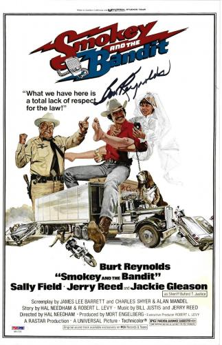 Burt Reynolds Signed 11x17 Smokey and the Bandit Movie Poster Photo - PSA/DNA 2