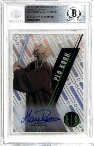 Alan Ruscoe Signed 20169 Star Wars High Tek #SW33 Plo Koon Auto Card BAS Slabbed