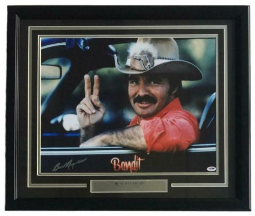 Burt Reynolds Signed Framed 16x20 Smokey And The Bandit Photo PSA
