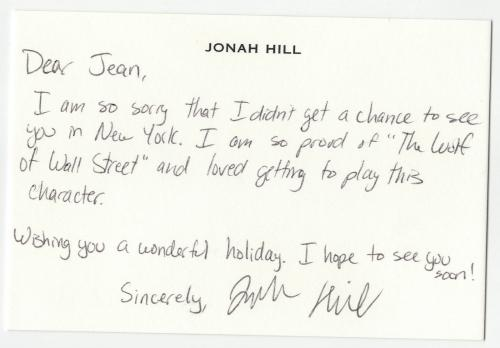 Jonah Hill signed autographed greeting card! RARE! Beckett BAS COA!