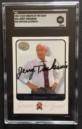 2001 Fleer Greats of the Game Signed Jerry Tarkanian 36 MT Auto Hof Sgc Coa UNLV