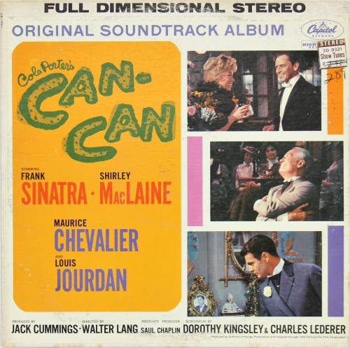 Frank Sinatra Cole Porter's Can-Can Soundtrack Album Cover W/ Vinyl Un-signed