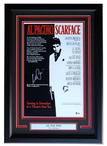 Al Pacino Signed Framed Scarface Tony Montana 11x17 Movie Poster Beckett BAS