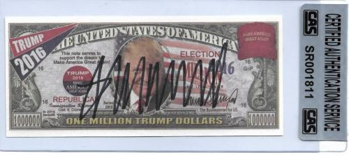2016 President Donald Trump Signed One Million Trump Dollars CAS Authentic