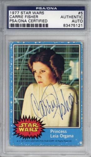 Carrie Fisher Signed Auto 1977 Star Wars Trading Card #5 PSA/DNA