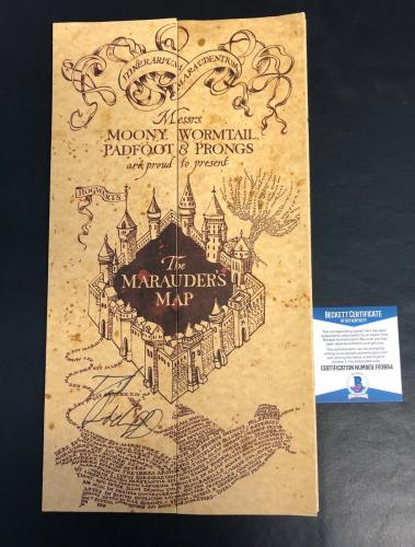 Daniel Radcliffe Signed Auto Harry Potter Marauders Map Authentic Beckett Bas
