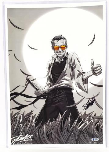"STAN LEE Signed Autographed ""Samurai Stan"" 13x19 PRINT Beckett BAS #F10367"