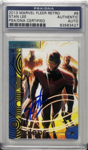 Stan Lee Signed 2013 'Cyclops' Marvel Fleer Retro Trading Card PSA 83583427