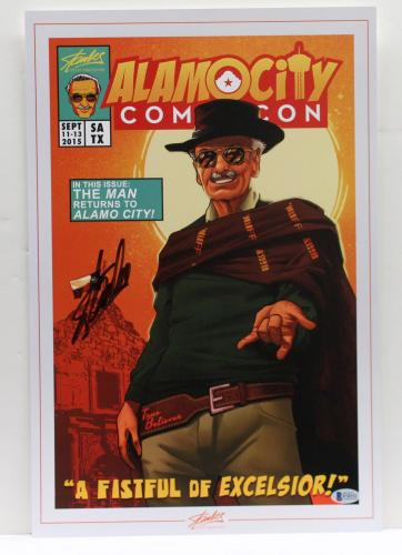 Stan Lee Signed Autograph Marvel Comics 12x18 Print Excelsior Beckett Bas F10333