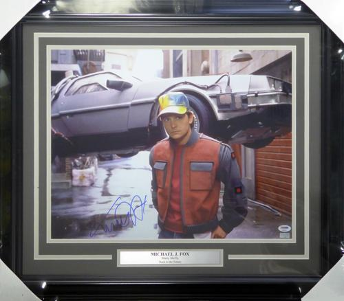 Michael J Fox Autographed Framed 16x20 Photo Back To The Future PSA/DNA #AB50643