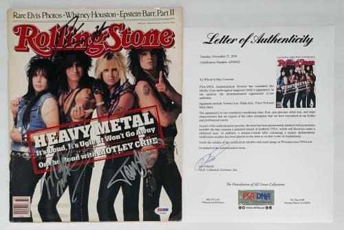 Motley Crue X4 Tommy Lee Nikki Vince & Mick Signed Rolling Stone Magazine Psa