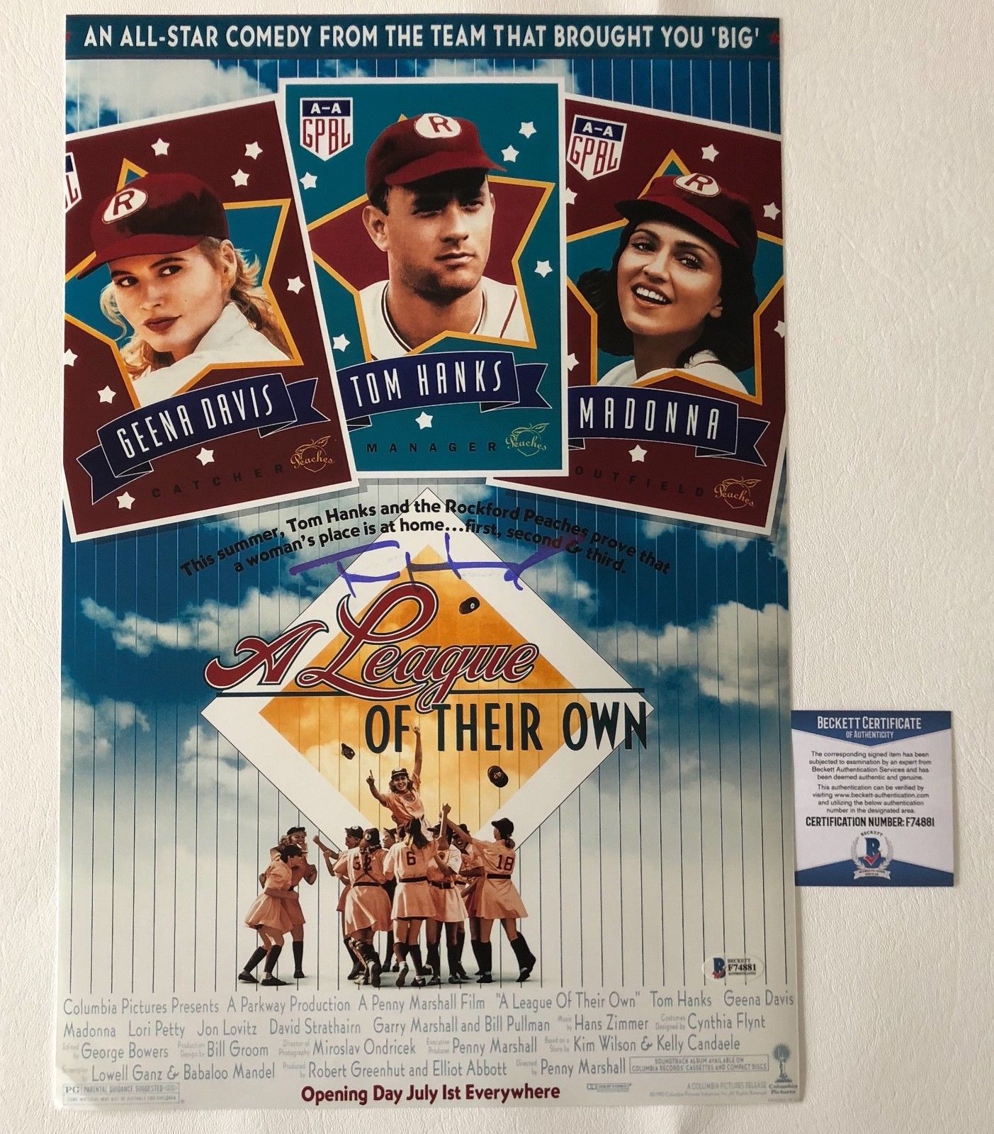 Tom Hanks Signed Auto A League Of Their Own 12x18 Mini Movie