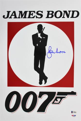 Roger Moore James Bond 007 Signed 12x18 Photo Autographed BAS