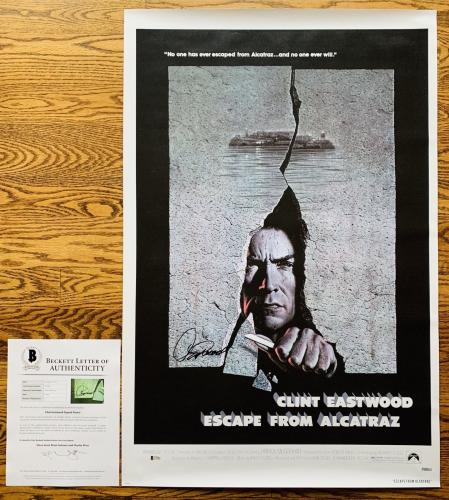 CLINT EASTWOOD SIGNED ESCAPE FROM ALCATRAZ 24x36 POSTER AUTHENTIC BAS LOA A79491