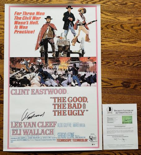 CLINT EASTWOOD SIGNED THE GOOD THE BAD AND THE UGLY 24x36 POSTER BAS LOA #A79489