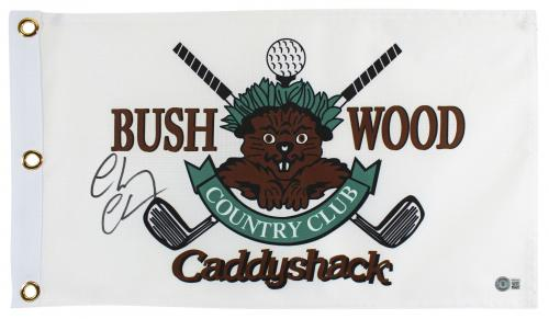 Chevy Chase Caddyshack Signed Bushwood Country Club Flag BAS Witnessed