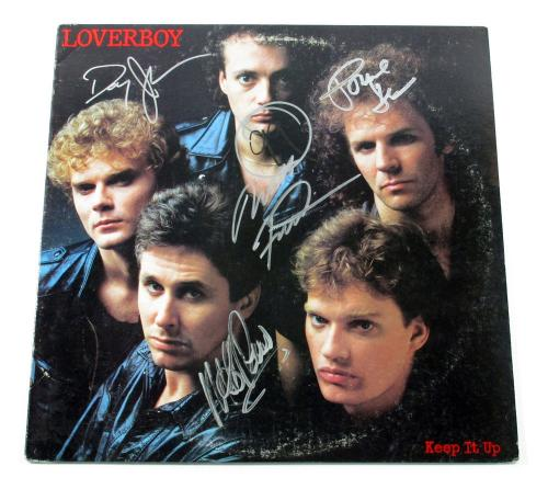 Mike Reno & 3 More Signed Record Album Loverboy Keep It Up 4 AUTOS DF026337