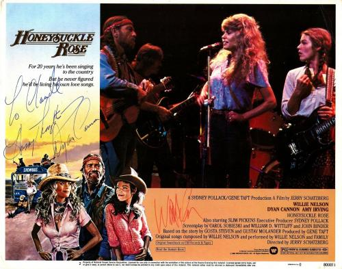 "WILLIE NELSON & DYAN CANNON Signed 11x14 ""Honeysuckle Rose"" Lobby Card PSA/DNA"