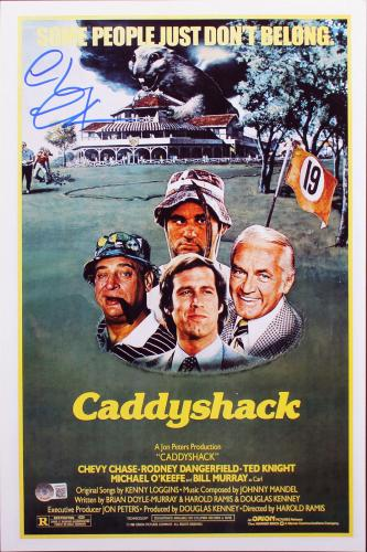 Chevy Chase Caddyshack Signed 12x18 Mini Movie Poster BAS Witnessed 3