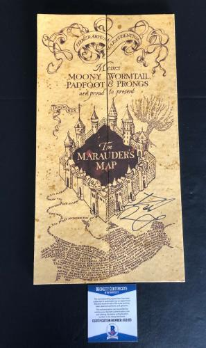 Harry Potter Daniel Radcliffe Signed Marauders Map Authentic Autograph Beckett 5