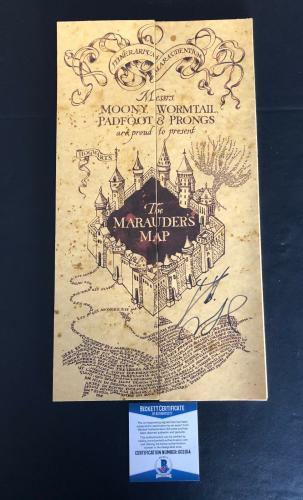 Harry Potter Daniel Radcliffe Signed Marauders Map Authentic Autograph Beckett 6