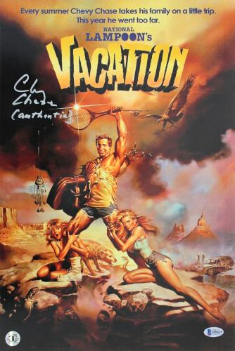 Chevy Chase Vacation Signed 12x18 Mini Movie Poster w/ Full Name Signature BAS