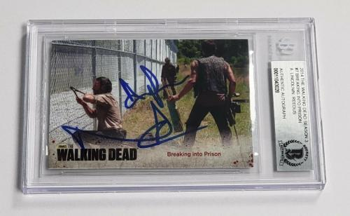 Andrew Lincoln Norman Reedus Auto'd 2014 The Walking Dead Card #7 Bas Coa Rick