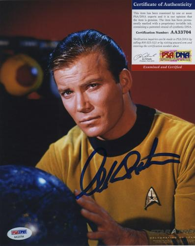 William Shatner Star Trek Signed Autographed Color 8x10 Photo Psa Dna Aa33704