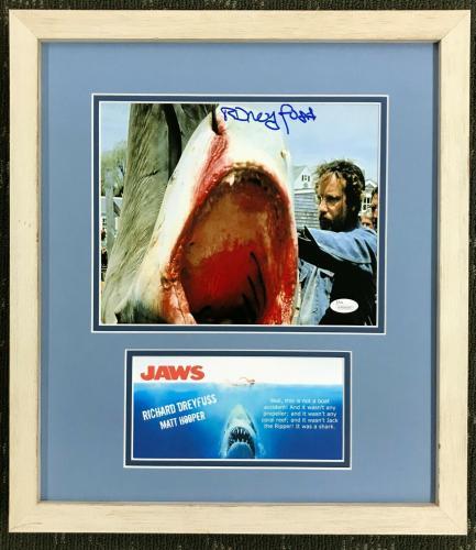 RICHARD DREYFUSS (Matt Hooper) JAWS signed custom framed display- JSA #WP886887