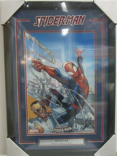 """STAN LEE SIGNED MARVEL COMICS """"SPIDER-MAN"""" FRAMED 13x19 PRINT PSA/DNA #AE40355"""