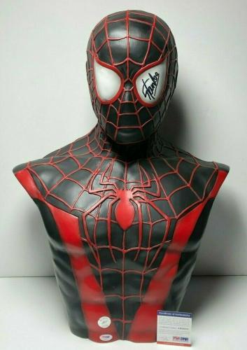 Stan Lee Signed Black Spider-Man Life Size Bust Marvel PSA AB88678/Exclesior COA