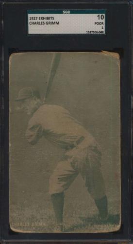 #10 Charles Grimm - 1927 Exhibits Baseball Cards (Star) Graded SGC 10