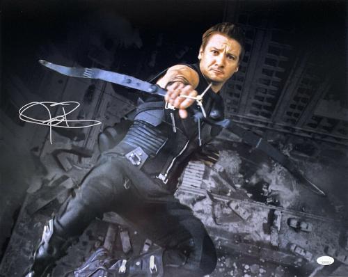 Jeremy Renner Signed 16x20 Avengers Hawkeye Falling Spotlight Photo JSA