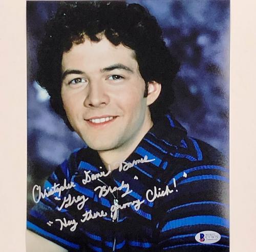 "CHRISTOPHER BARNES signed ""Hey Groovy Chick"" GREG BRADY Bunch 8x10 Photo BAS COA"