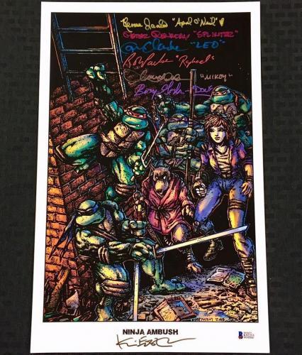 Teenage Mutant Ninja Turtles TMNT Cast (7) Signed 11x17 Photo w/ Beckett BAS COA
