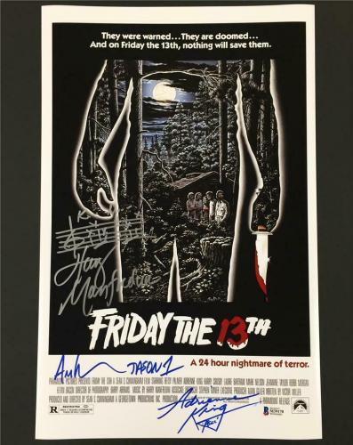 FRIDAY THE 13TH Lehman~King~Manfredini cast signed 11x17 movie poster ~ BAS COA