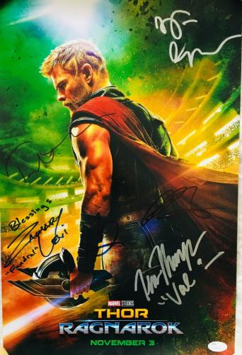Thor 3 cast signed movie poster Chris Hemsworth Mark Ruffalo Hiddleston Levi JSA