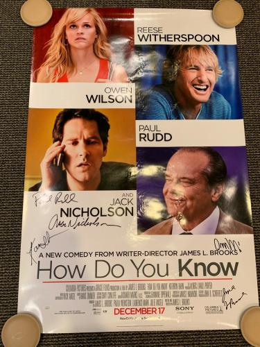 How Do You Know Signed Movie Poster Jack Nicholson Rudd O.wilson Witherspoon Jsa