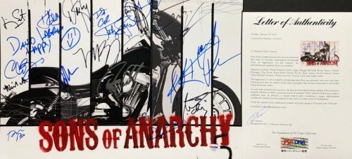 Charlie Hunnam Katey Sagal Ryan Hurst +12 Signed Sons Of Anarchy 12x18 Photo PSA