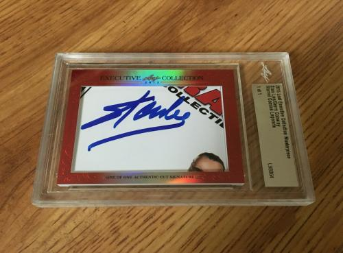 Stan Lee Gerry Conway 2015 Leaf Masterpiece Cut Signature signed 1/1 JSA Marvel