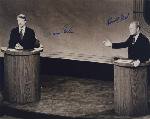 Jimmy Carter & Gerald Ford Bw Signed Autographed Bw 8x10 Photo Beckett Bas Coa
