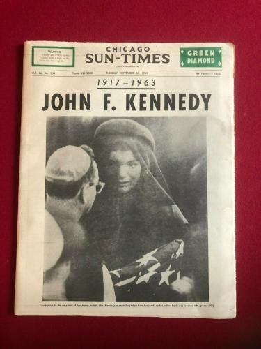 1963, John F. Kennedy, Chicago Sun-Times Newspaper (Scarce / Vintage)