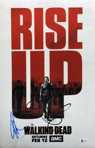 Jeffrey Dean Morgan & Lauren Cohen Signed 'Walking Dead' 12x18 Photo BAS E49990