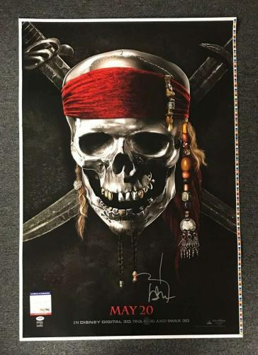 JOHNNY DEPP PSA DNA Hand Signed 28x40 Pirates of the Caribbean Poster Photo Auto