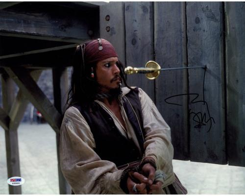 "Johnny Depp Signed Pirates of the Caribbean ""Sword in Wall"" 11x14 Photo"